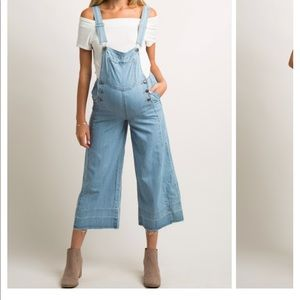 PinkBlush Chambray maternity overalls